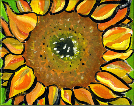 Sunflower, acrylic on canvas by                           Lynette Yetter